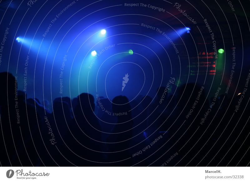 Partytime blue Disco Black Light Fog Human being disco evening Blue Reaction Contrast Joy Dark Lighting Silhouette Club Clubbing