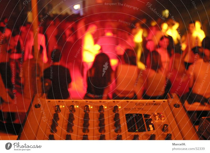 Human being Red Party Music Group Disco Mixing desk