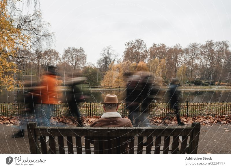 Anonymous man resting on bench near pond park lake autumn alley sit london adult male tree fall season water calm tranquil serene peaceful guy hat casual