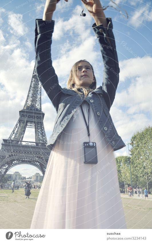 selfie in paris (3) Child Girl Vacation & Travel Trip Town Paris Eiffel Tower France Foreign countries Tourist Tourism Selfie Photography Cellphone Camera Arm