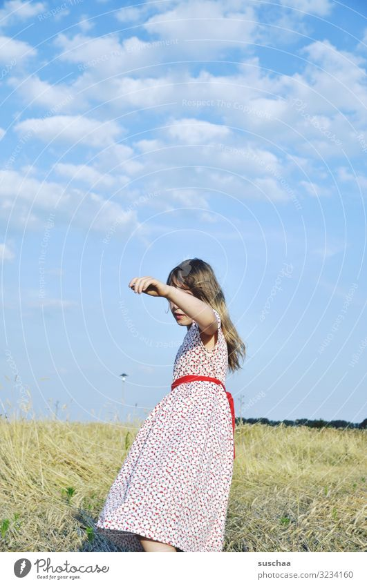 summer Child Girl Infancy Dress Timeless Nature Exterior shot Field Stubble field Warmth sunny Sky little cloud Idyll To go for a walk Movement Arm Hand