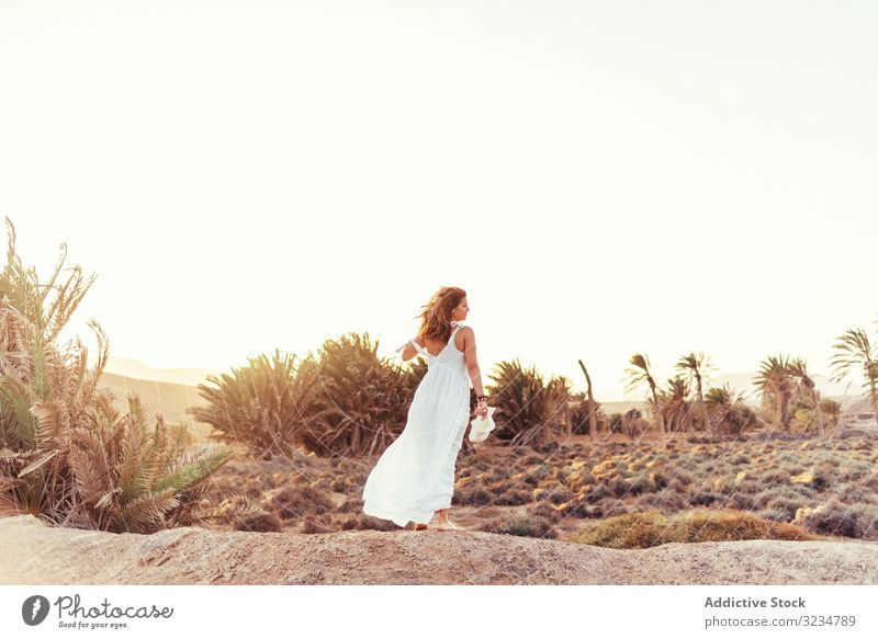 Woman in white dress in dry field in sunlight stylish woman walking countryside nature summer female beauty day beautiful natural enjoying romantic straw