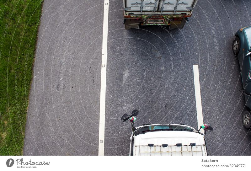 Top view of transportation truck on road Transport Street Highway Vehicle Car Truck Trailer Gray Green Vantage point cargo engine Colour photo Aerial photograph