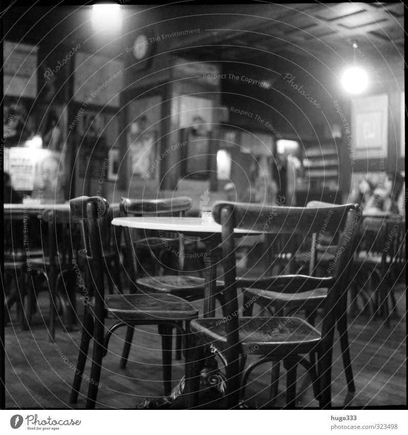 cafe Furniture Night life Gastronomy Wood Uniqueness Cuddly Chair Table Wall (building) Image Café Rustic Cozy Vienna Café society thonet Analog Film