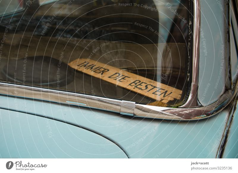 Always the best Style Prenzlauer Berg Vintage car Collector's item Chrome Rear Window Loudspeaker Wooden board Glass Metal Continuous Best Word Lie Cool (slang)