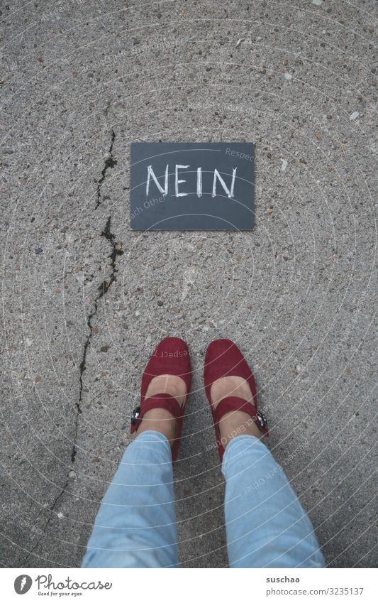 no, not again ... Text Word Clue Letters (alphabet) Denial Cancelation opposition Resist Blackboard Street Asphalt Legs feet Woman Crack & Rip & Tear