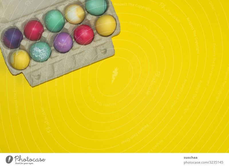 Happy Easter Egg eggs colored eggs Multicoloured Easter egg Spring Eggs cardboard Yellow safekeeping Food Tradition Dyeing Copy Space albumen marbled 10