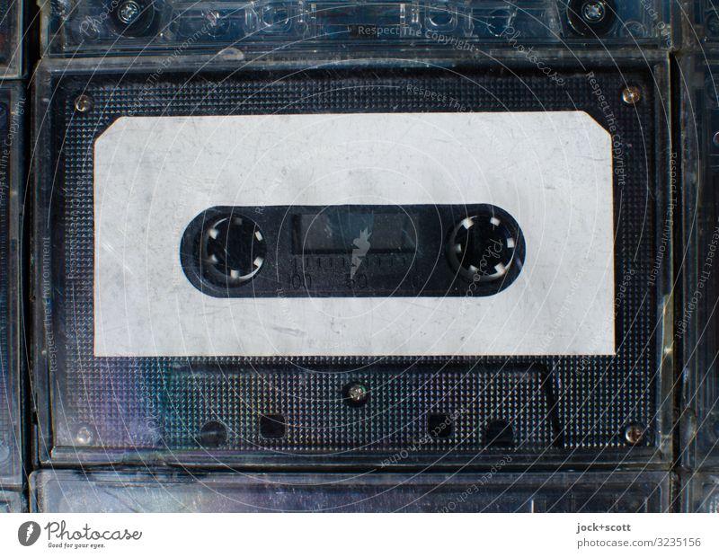 Audio blank cartridge Entertainment electronics Tape cassette Collector's item Plastic Free space Labeled Authentic Simple Near Original Retro Black White