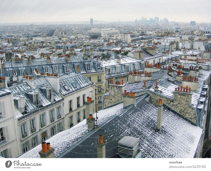 above the roofs of paris (in winter) Paris France Europe European Union Town City Capital city Skyline Roof Horizon recognition value Chimney country Montmartre