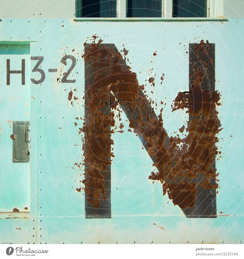 H3-2 N Military Beautiful weather Airport Berlin-Tempelhof Hangar Gate Metal Rust Characters Line Authentic Sharp-edged Large Historic Original Retro Turquoise