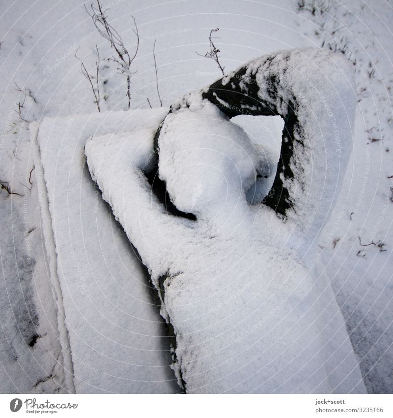 snow cover Feminine Sculpture Meadow Marzahn Monument Statue Metal Love Esthetic Fresh Cold Eroticism Under White Moody Contentment Secrecy Watchfulness Wisdom