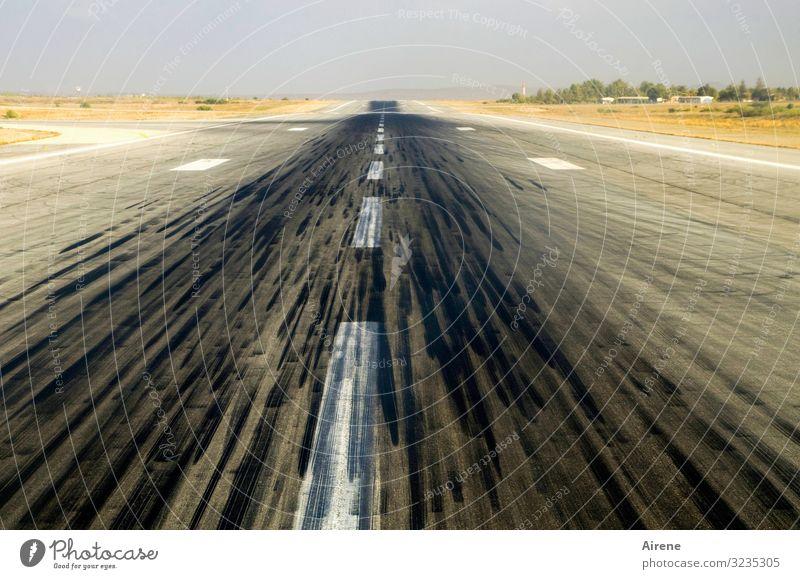 take a run-up Vacation & Travel Airplane takeoff Plain Street Median strip Airfield Runway Airplane landing Infinity Small Long Black White Wanderlust Speed