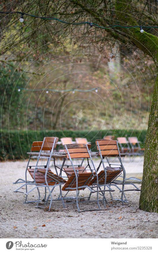 end of season Picnic Fog Gray Modest Refrain Chair Beer garden Break Holiday season Table Winter Calm Closing time day of rest Exterior shot Copy Space top