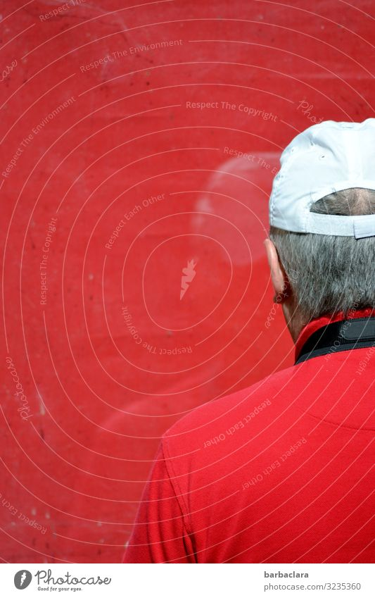 I see red Leisure and hobbies Take a photo Masculine Man Adults 1 Human being Building Window T-shirt Cap Gray-haired Glass Looking Stand Authentic Red White