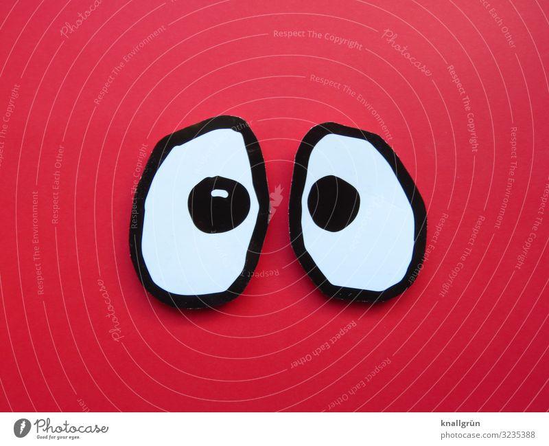 Big eyes Eyes Communicate Looking Large Curiosity Red Black White Emotions Surprise Amazed Gaze Colour photo Studio shot Deserted Copy Space left