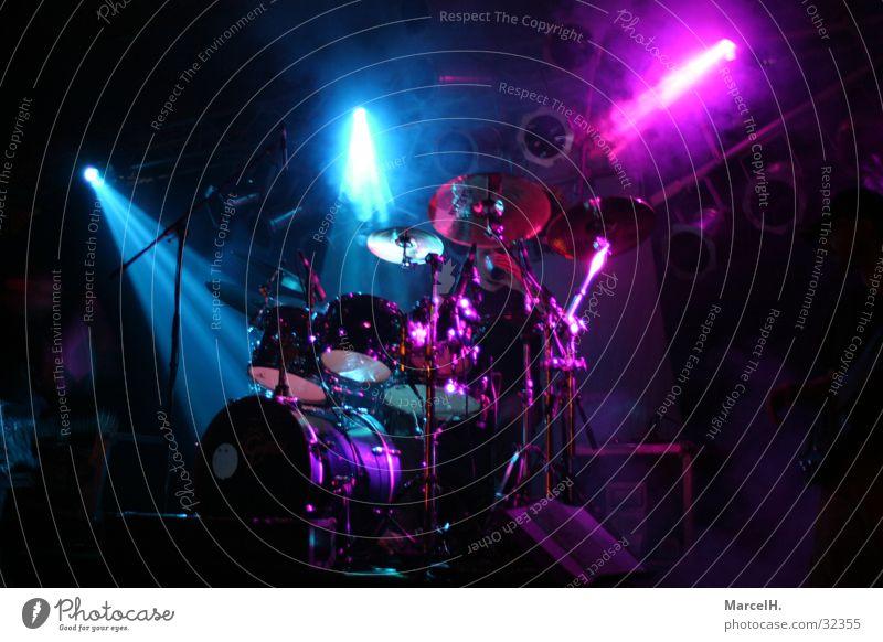 Hit that stuff Drum set Light Dark Neon light Concert Music Blue Musical instrument