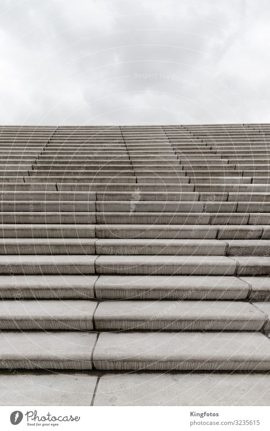 Stairway to heaven Sky Clouds Manmade structures Architecture Stairs Cold Gray Moody Infinity Stone Level Landing Climber Tall Concrete Ground Concrete floor