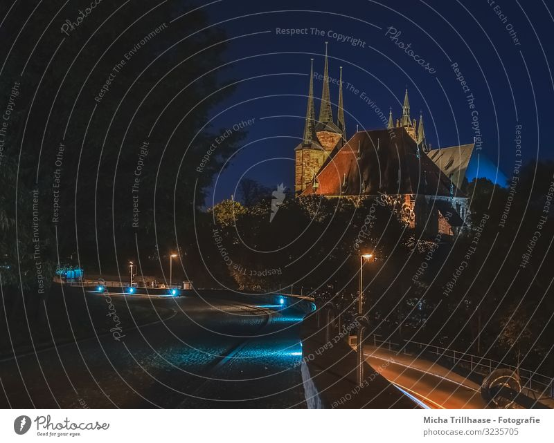 Erfurt Cathedral at night Vacation & Travel Tourism City trip Night sky Germany Europe Town Downtown Old town Deserted Church Dome Manmade structures Building