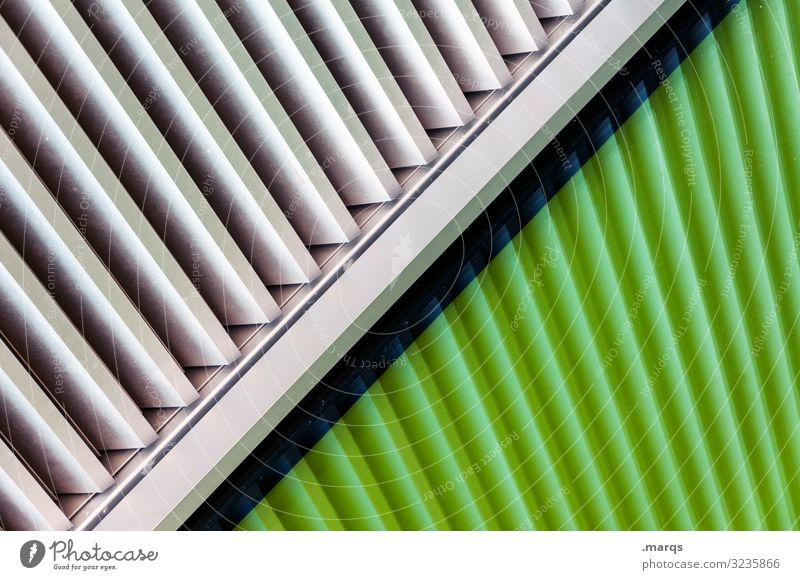 Cross and cross Architecture Facade Metal Plastic Line Esthetic Cool (slang) Hip & trendy Modern Green White Design Colour Futurism Colour photo Exterior shot