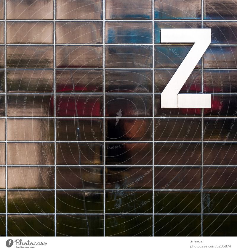 Z on black wall Letters (alphabet) Characters White Black Wall (building) Reflection communication Tile Colour photo Typography Latin alphabet