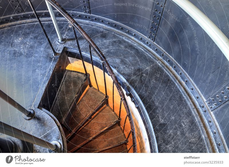 Spiral stairs inside the Cape Florida Lighthouse Climbing Mountaineering Nature Coast Building Architecture Landmark Metal Brown Yellow Gray Orange Protection