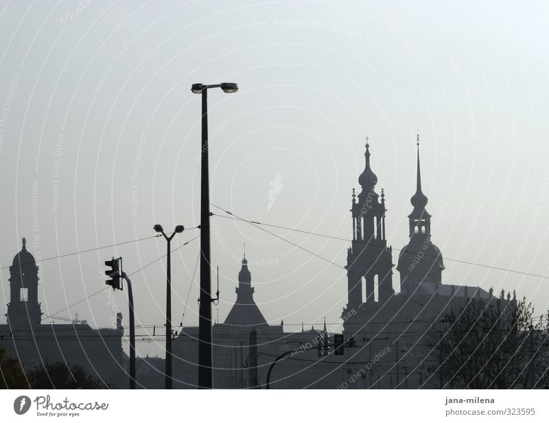 dresden skyline Dresden Germany GDR Europe Town Downtown Old town Skyline Deserted Church Dome Manmade structures Building Architecture Tourist Attraction