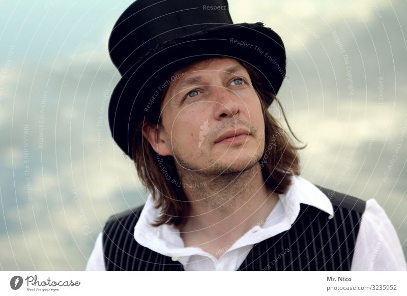 The hat makes the man Lifestyle Masculine Man Adults Face 1 Human being Shirt Hat Long-haired Designer stubble Observe Cool (slang) Hip & trendy Contentment