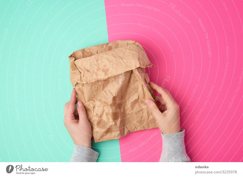 open brown paper bag for food packaging Shopping Craft (trade) Hand Environment Container Pack Paper Packaging Package Above Brown Green Pink Colour Hold Blank