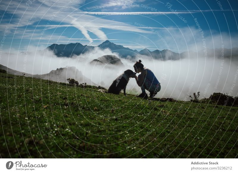 Adult tourist with dog against foggy valley under clear sky in summer mountain silhouette woman friend highland border collie atmosphere horizon loyalty