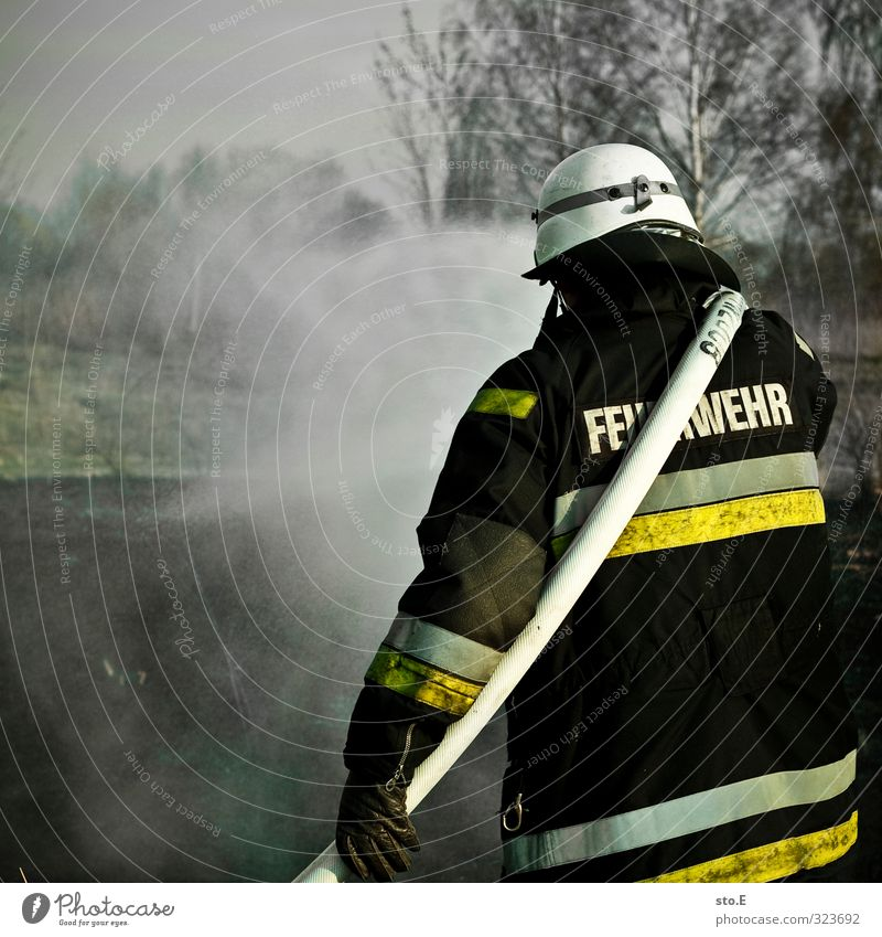 Fire! Who's that? Healthy Cast Erase Services Safety Protection Helmet Fireman Fire department Blaze Health care Human being Water Forest Threat Cold Wet Warmth