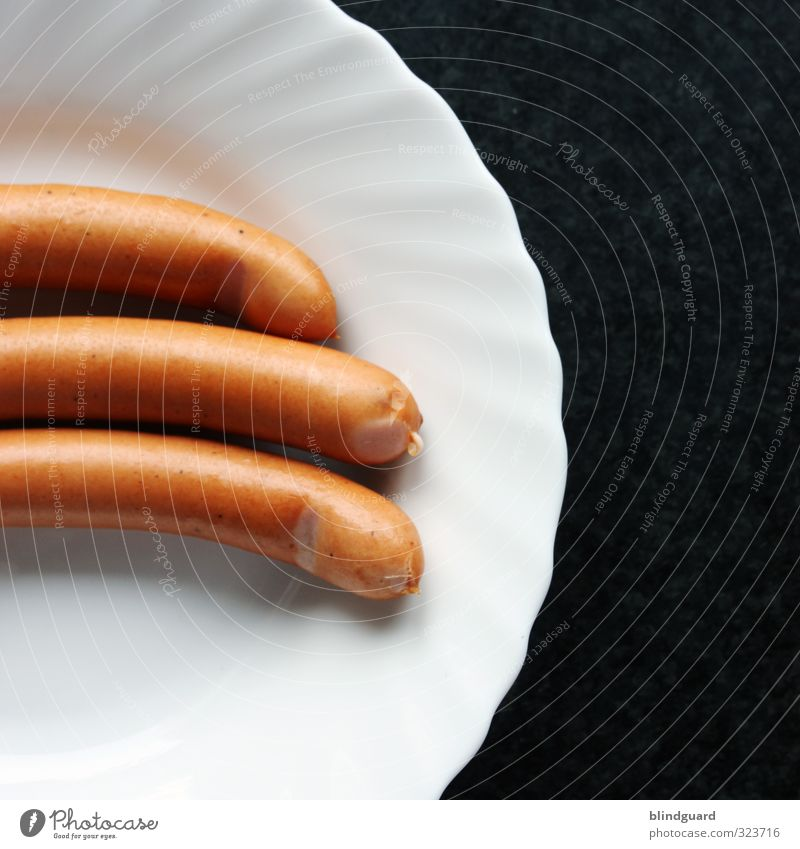 threesome Food Sausage Lunch Plate Eating Delicious Brown Black White Services Kitchen Appetite Full Small sausage Pottery Porcelain Colour photo Interior shot