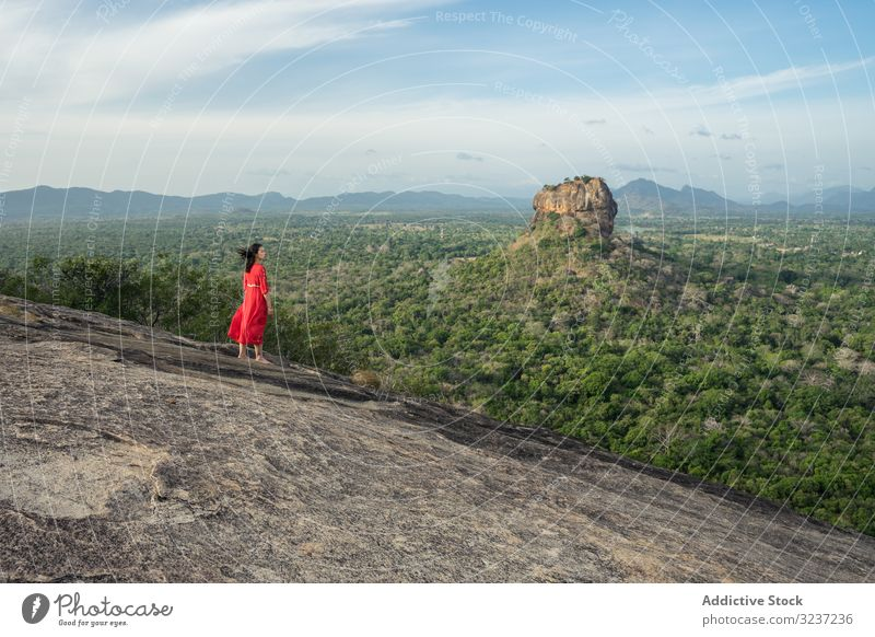 Tourist against solitary rock in middle of green forested plain under clear sky in summer tourism mountain plateau woman travel height sigiriya pidurangala