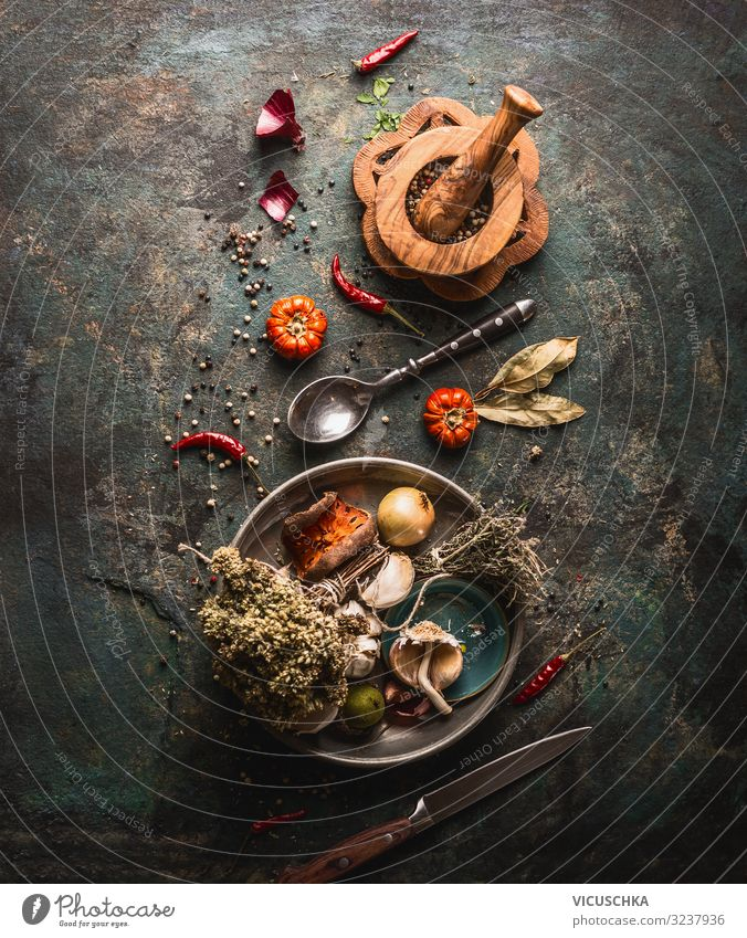 Dried spices and kitchen herbs Food Herbs and spices Nutrition Crockery Design Healthy Eating Table Restaurant Gastronomy Background picture Vintage Chili