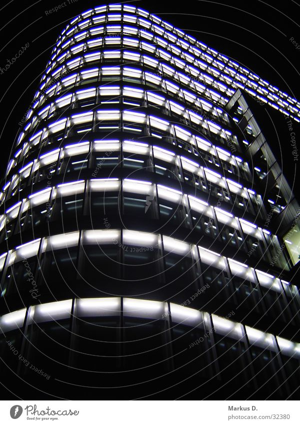 Vattenfall Tower Light Building High-rise Night Town Architecture Skyline