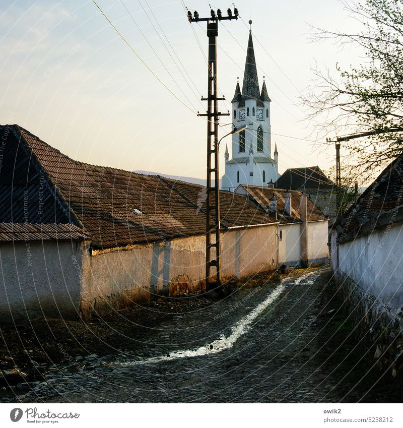 Transylvania Far-off places Sky Clouds Beautiful weather Tree Garbova Romania Siebenbürgen Eastern Europe Village Populated House (Residential Structure) Church