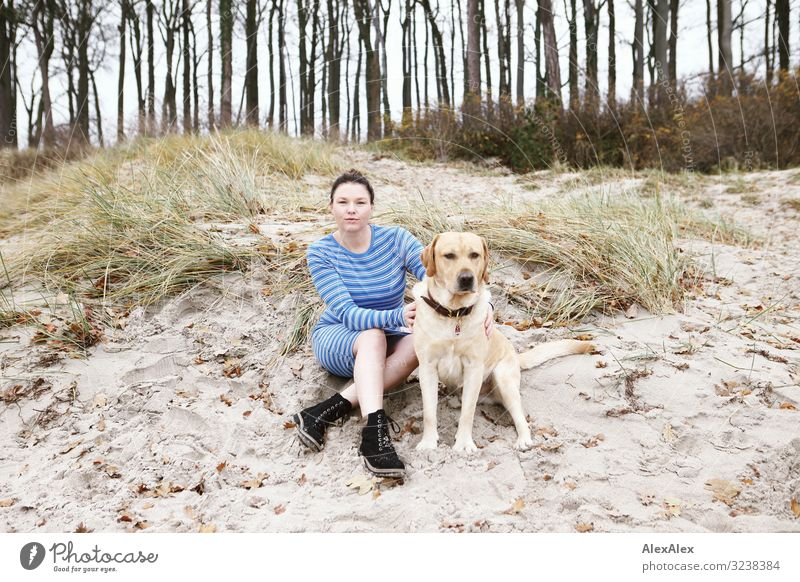 Young woman with blond Labrador sits on beach dune Joy Beautiful Life Harmonious Trip Adventure Youth (Young adults) Adults 30 - 45 years Landscape Autumn Tree