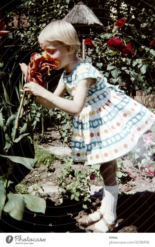 Human being Nature Plant Flower Girl Life Environment Feminine Time Garden Blonde Stand Joie de vivre (Vitality) To enjoy Beautiful weather Romance