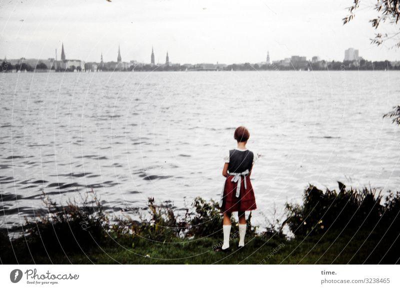 Human being Nature Loneliness Calm Girl Environment Sadness Feminine Coast Time Lake Moody Horizon Dream Waves Church