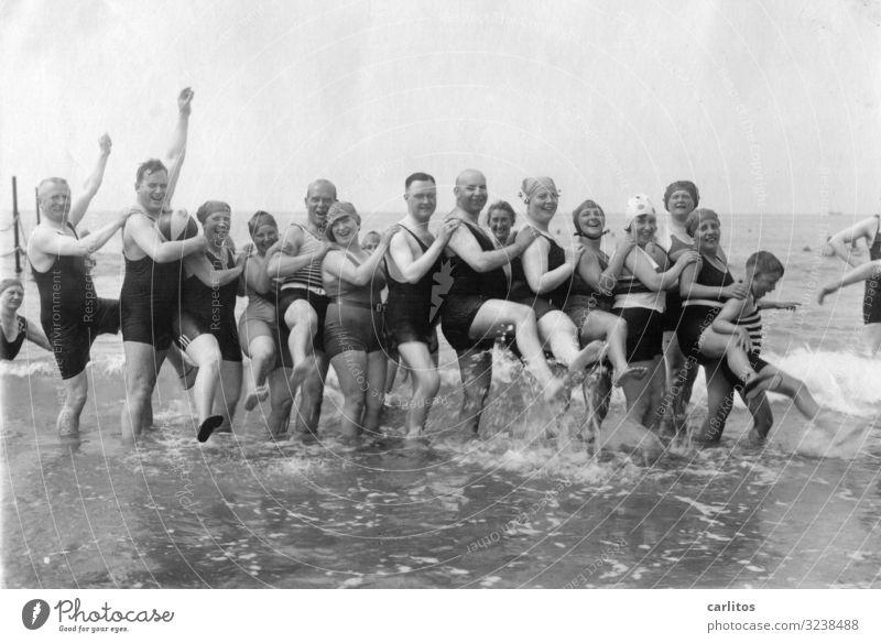 Bathing fun 100 years ago 2.0 Leisure and hobbies Vacation & Travel Ocean Grandparents Senior citizen Grandfather Grandmother Baltic Sea Past Twenties Former