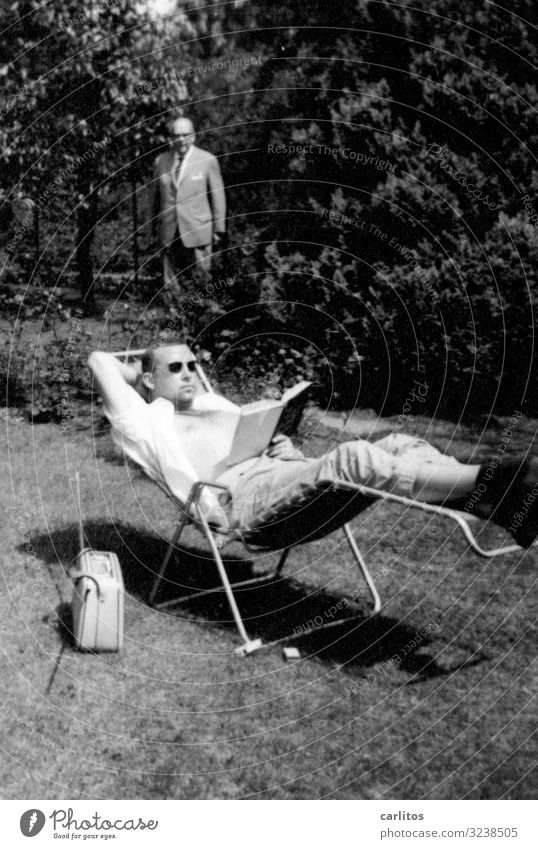 Youth (Young adults) Young man Relaxation Family & Relations Garden Book Past Break Reading Sixties Deckchair Economic miracle