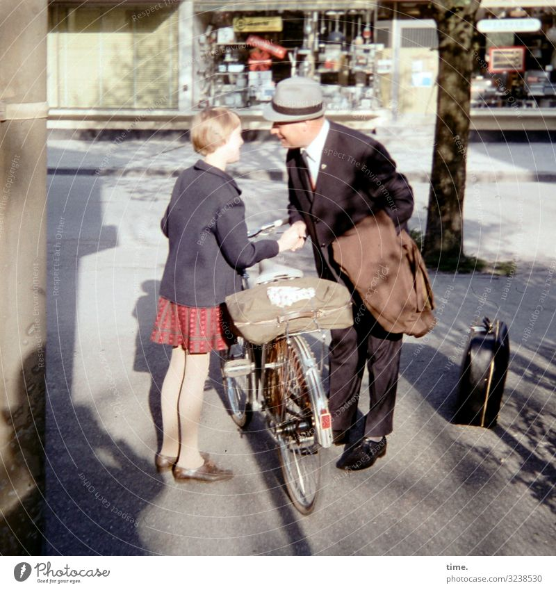 Human being Man Old Town Tree Girl Street Adults Life Lanes & trails Feminine Masculine Bicycle Communicate Stand Beautiful weather
