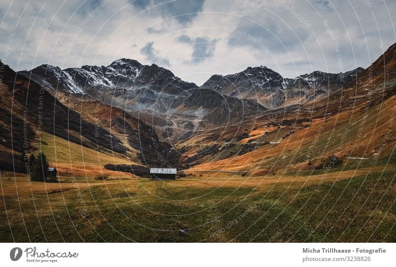 Mountain panorama and hut in the valley Vacation & Travel Tourism Nature Landscape Sky Clouds Autumn Grass Peak Snowcapped peak Serfaus Fiss-Ladis Austria