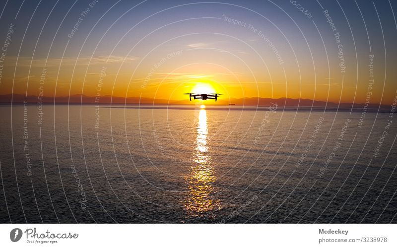 I see you drone drone flight sunset light sunshine Sunlight Ocean ocean Sunset Sunset sky Sky Clouds Light Exterior shot Landscape landscape Dusk Evening