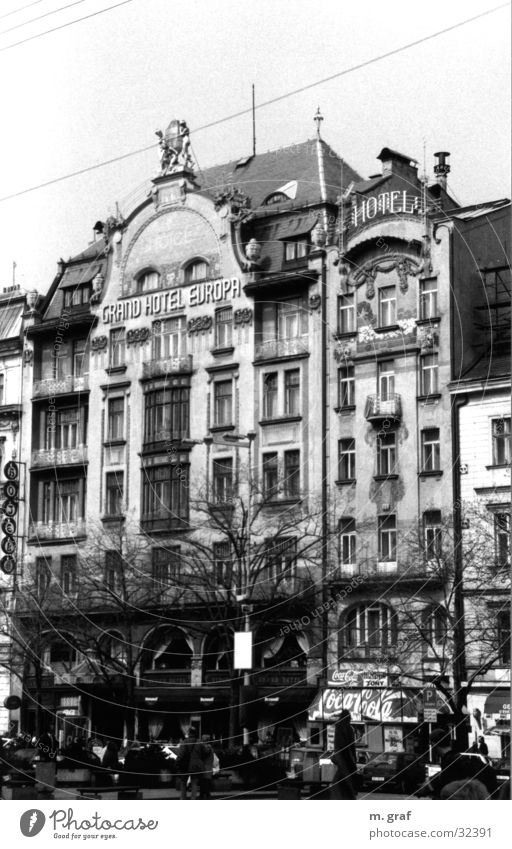 Art Nouveau façade Art nouveau Prague House (Residential Structure) Facade Architecture Black & white photo