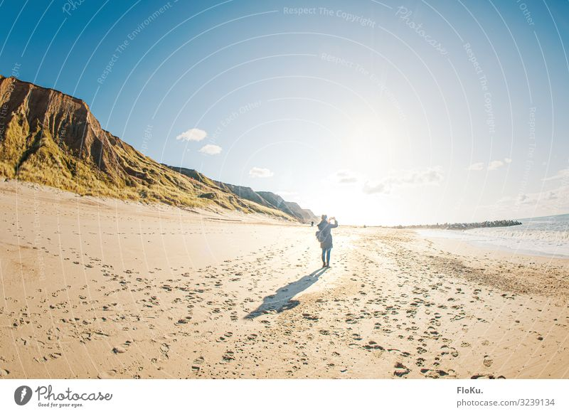 Taking photos at the Danish North Sea coast vacation travel voyage Relaxation Denmark Europe Beach North Sea beach Vacation & Travel smartphone Photography Sand
