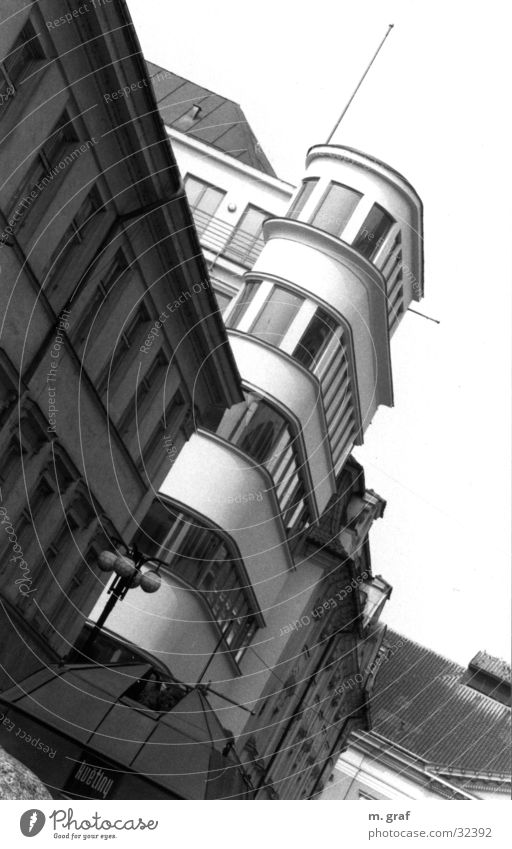 façade Prague Facade House (Residential Structure) Oriel Architecture Bauhaus Black & white photo Tower