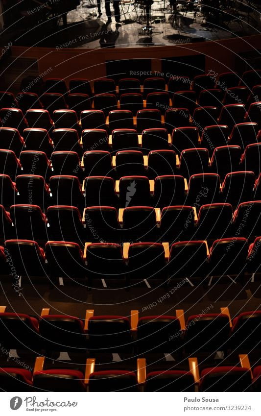 Empty seats in a theatre Lifestyle Esthetic Dark Free Above Red Leisure and hobbies Creativity Performance Fiasco Arrangement Seat Seating Theatre Audience