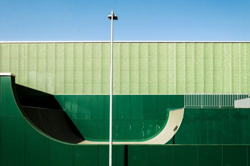 Halfpipe green with lantern Sports Green Wall (building) Sky Arrangement Leisure and hobbies Youth culture Sporting Complex Colour Lantern Round shape