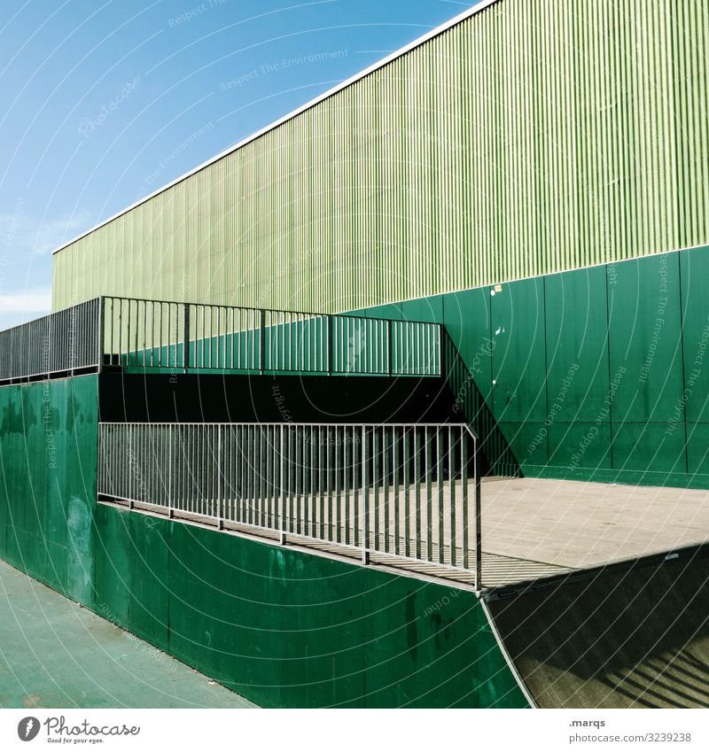 Architecture green Halfpipe Sports Green Wall (building) Sky Arrangement Sporting Complex Colour Fence Shadow