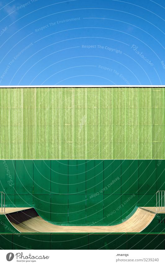 Halfpipe green Sports Green Wall (building) Sky Arrangement Leisure and hobbies Youth culture Sporting Complex Colour